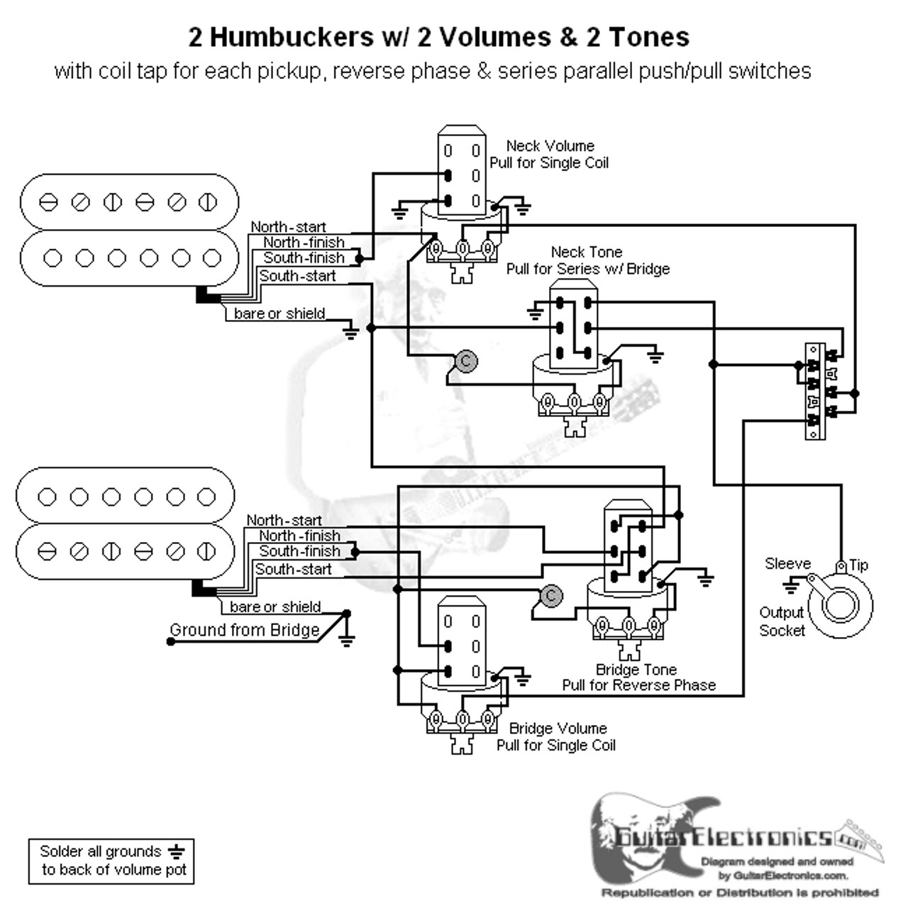 small resolution of 2 hbs 3 way lever 1 vol 2 tones coil tap series parallel phase les paul 2 vol 2 tone guitar ground wiring diagram
