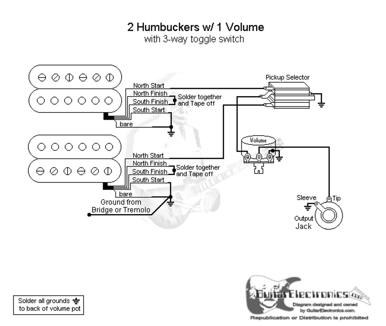 medium resolution of 2 humbuckers 3 way toggle switch 1 volume 2 pickup guitar wiring