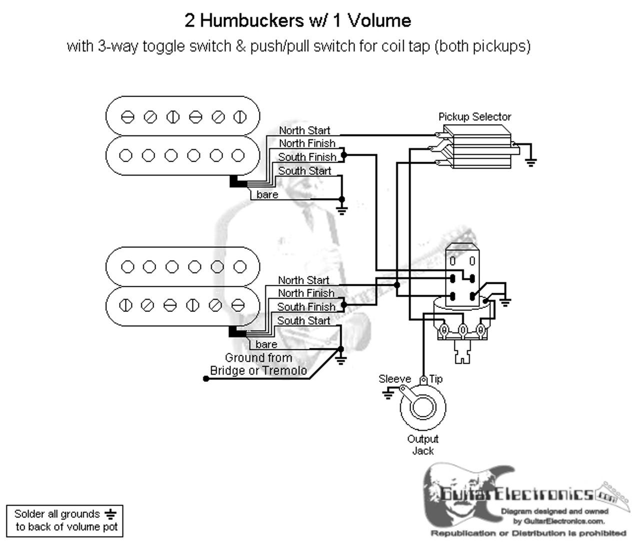 medium resolution of 2 humbuckers 3 way toggle switch 1 volume coil tap northbare knuckle humbucker wiring diagram dual