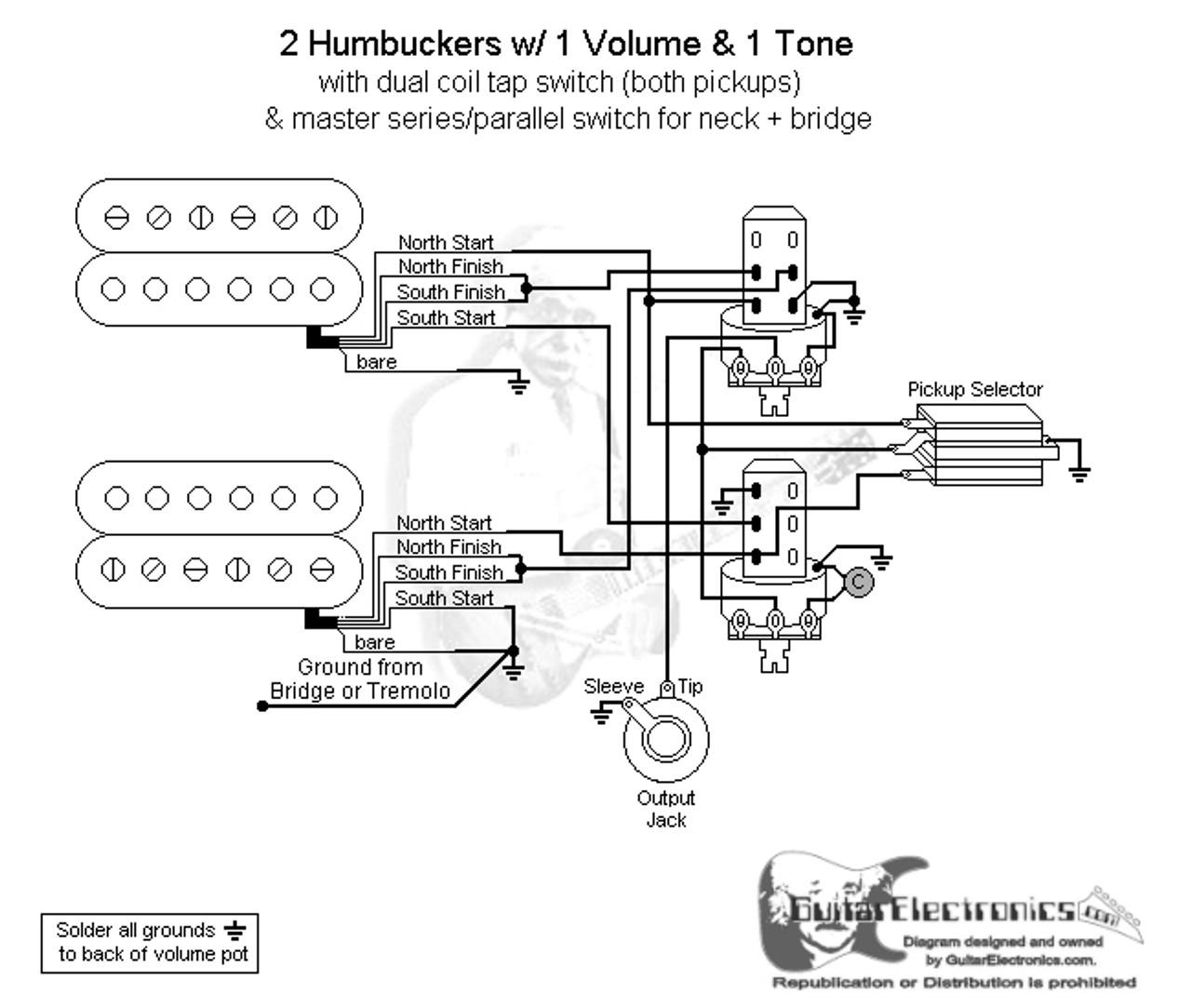 medium resolution of 2 hbs 3 way toggle 1 vol 1 tone coil tap series parallel 2 humbucker 1 vol 1 wiring diagrams