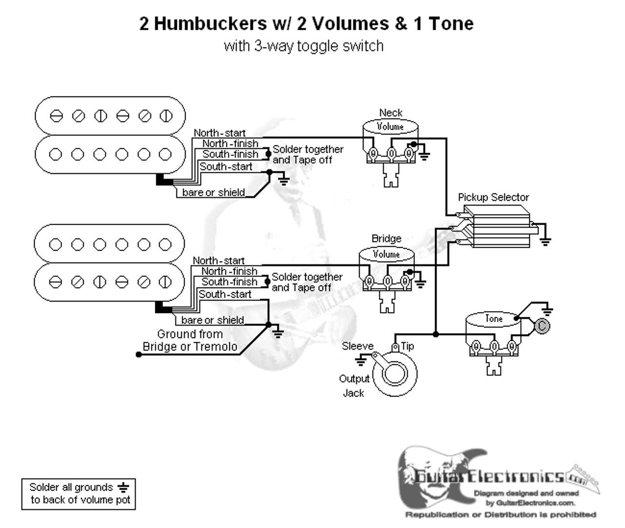 medium resolution of electric guitar diagram wire 2 humbucker 1 tones 2 volumes wiring wiring diagram 2 pickup 3 way switch one volume