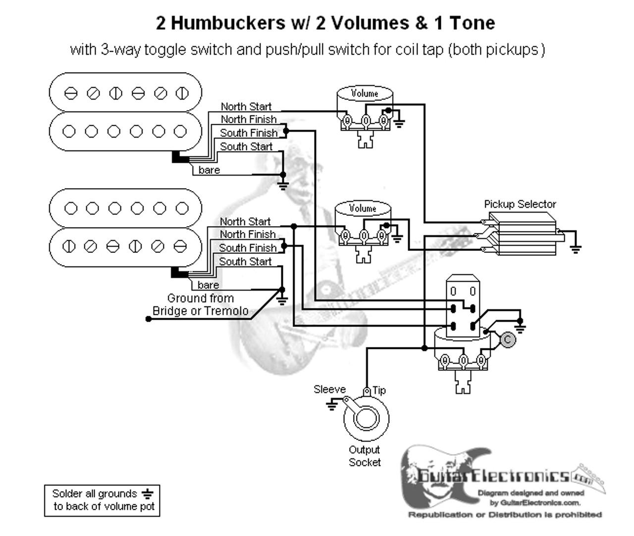 diagram 2 humbuckers 3way toggle switch 2 volumes 1 tone coil tap diagram 2 humbuckers 3 way lever switch 2 volumes 1 tone individual [ 1280 x 1083 Pixel ]