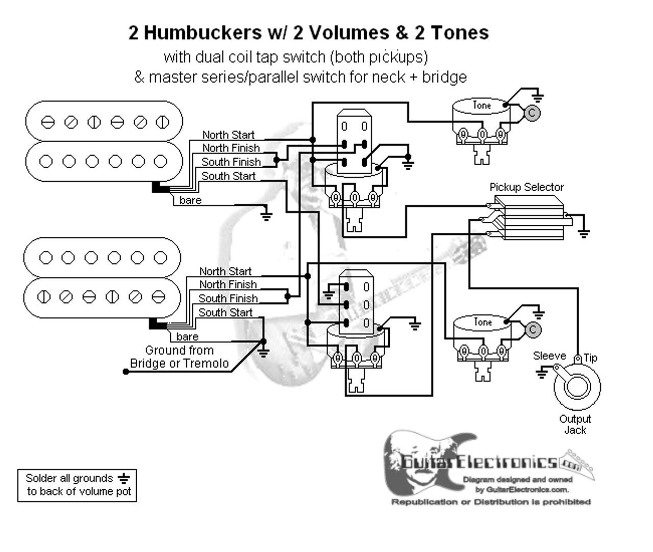 2 humbuckers 3 way toggle switch 2 volumes 2 tones coil tap u0026 series parallel3 [ 1280 x 1083 Pixel ]