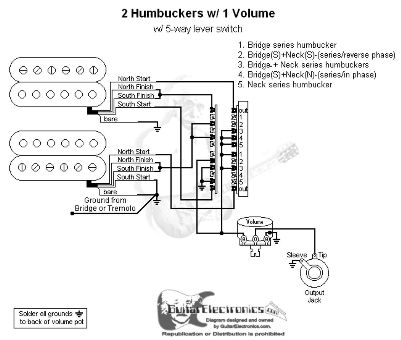 wiring diagram 2 humbuckers 5way lever switch 1 volume 1 tone 03 art of tone wiring diagram [ 1280 x 1083 Pixel ]