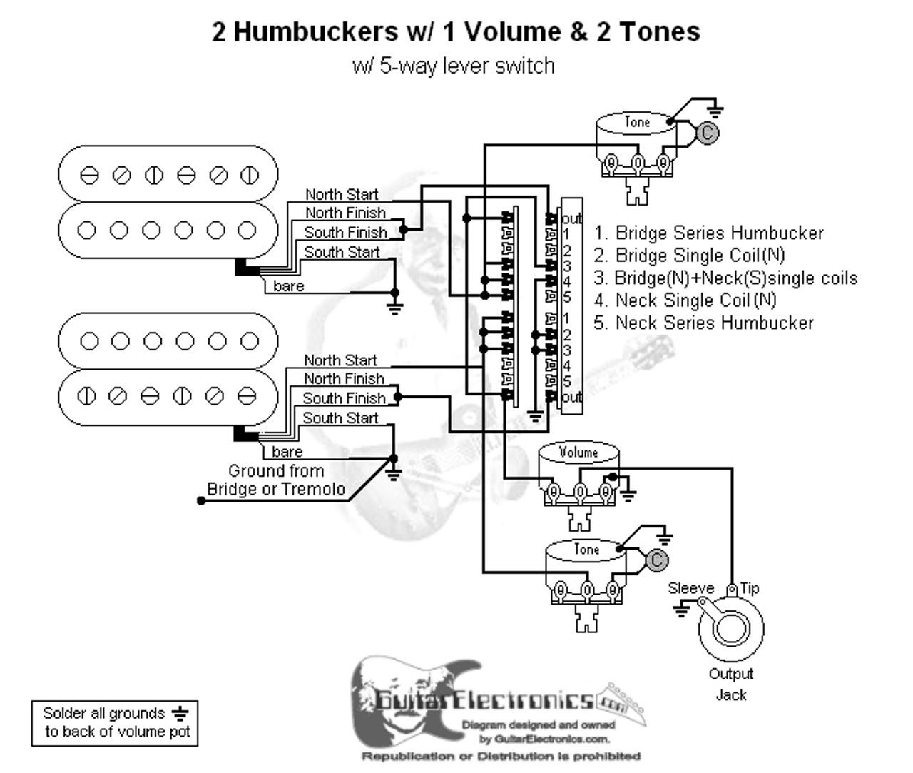 medium resolution of 2 humbuckers 5 way lever switch 1 volume 2 tones 01 guitarelectronicscom custom drawn guitar wiring diagrams