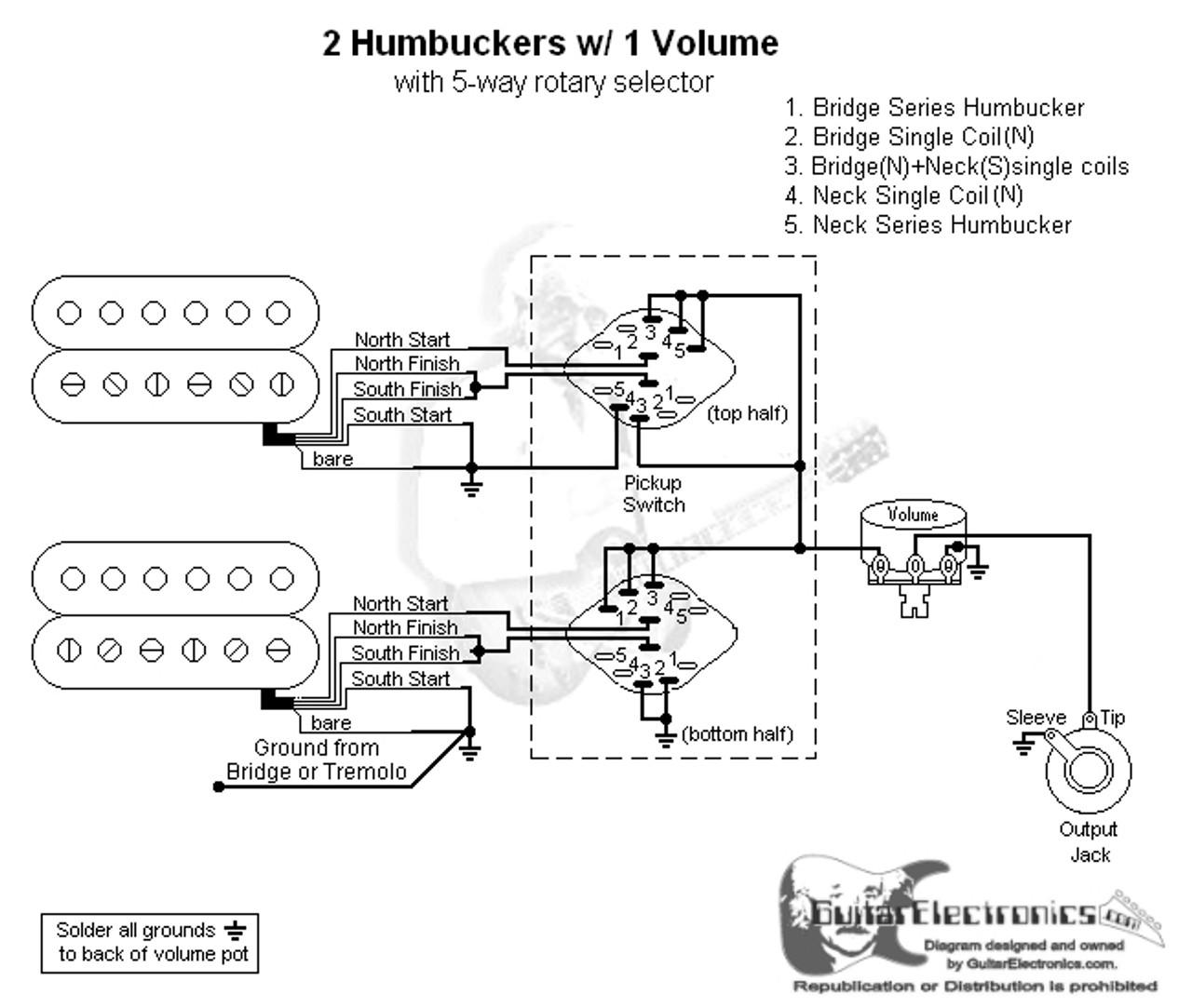medium resolution of 2 humbuckers 5 way rotary switch 1 volume 01 5 way switch wiring diagram leviton 5 way rotary switch wiring diagram