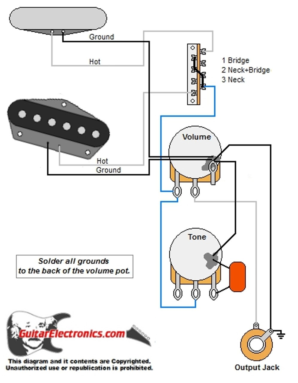 Guitar Wiring Diagram 2 Humbuckers 5way Lever Switch 1 Volume 2 Tones