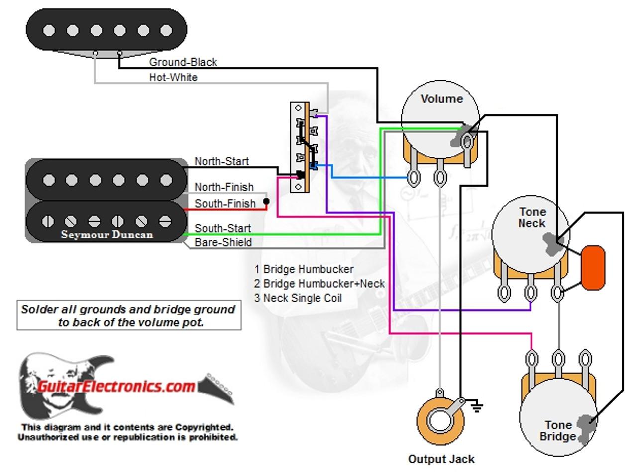 1 Humbucker1 Single Coil3Way Lever Switch1 Volume2