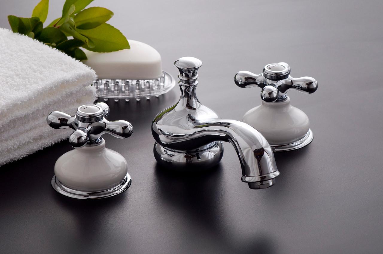 sacramento widespread lavatory faucet set with cross handles porcelain trim