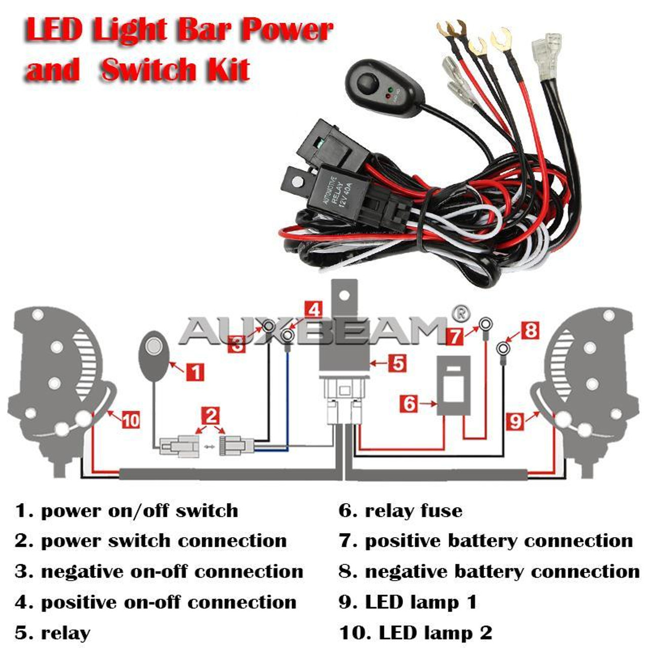 hight resolution of 12v 40a led light bar wiring harness kit dual lights 12v 40a led light bar