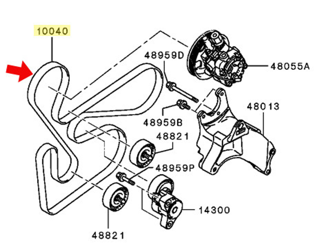 mitsubishi lancer engine belt diagram [ 1280 x 934 Pixel ]
