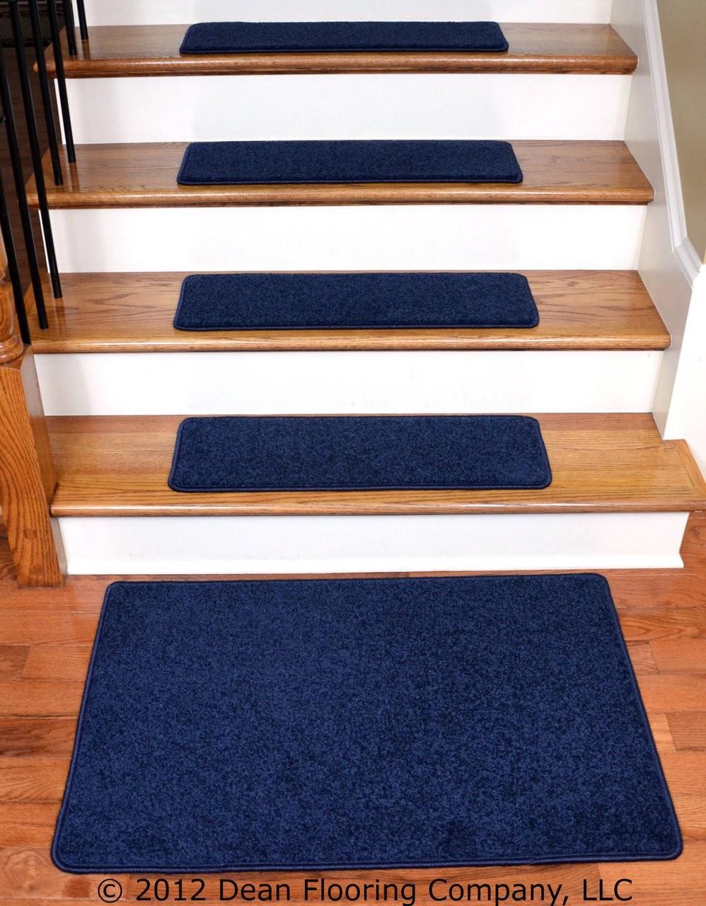 Dean Carpet Stair Treads 27 X 9 Navy Blue Plush 13 Plus A 2   Thick Carpet Stair Treads   Non Slip   Cut Pile   Bullnose Carpet   Slip Resistant   Flooring