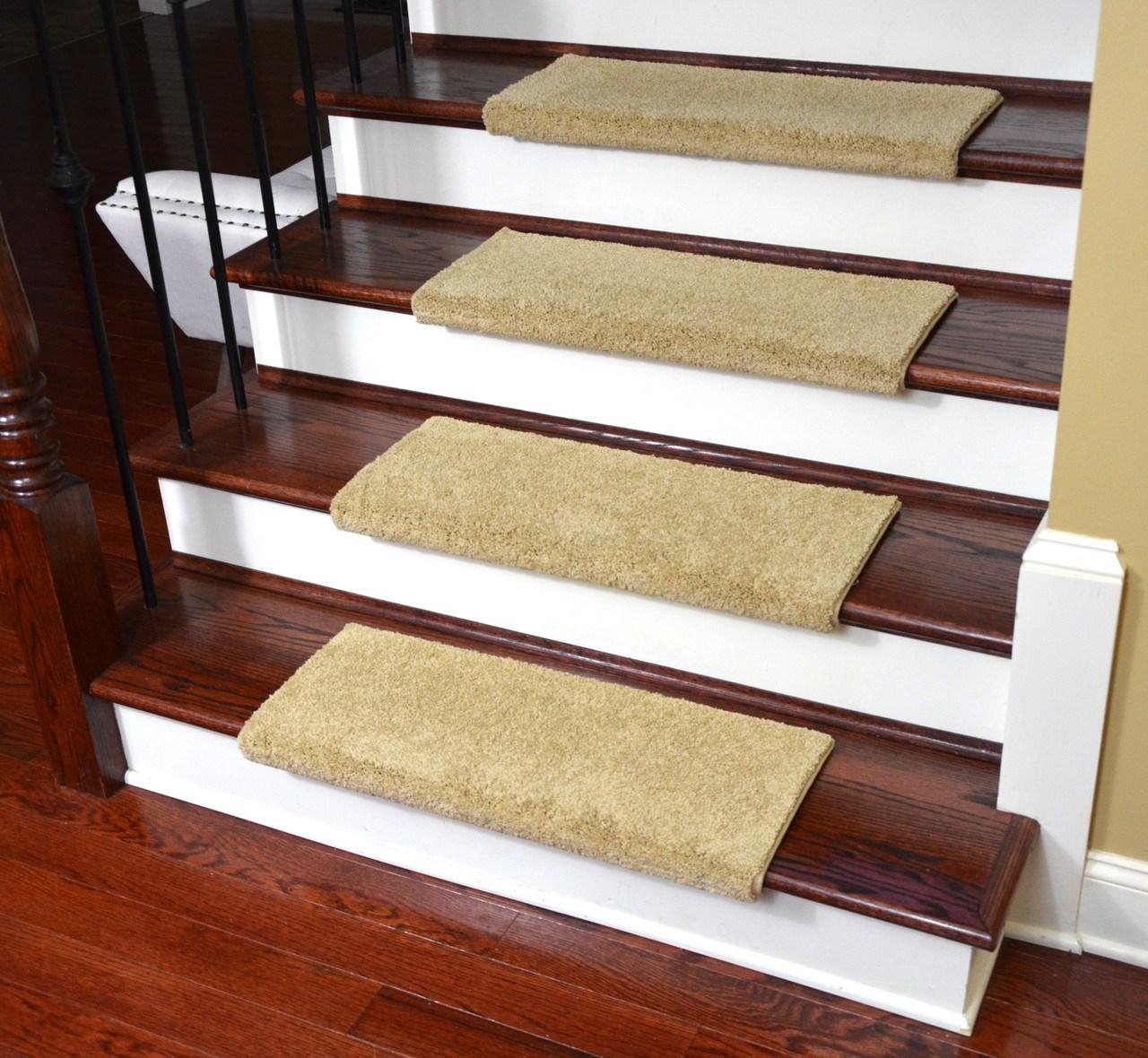 Dean Premium Pet Friendly Tape And Adhesive Free Non Slip Bullnose   Beige Carpet On Stairs   Pattern   Dark Beige   Nice   Bound Edge   Hardwood Transition