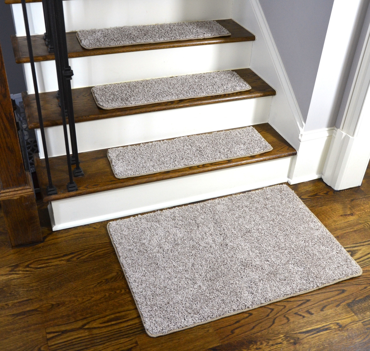 Dean Washable Non Slip Carpet Stair Treads Macadamia Beige Set | Carpet Stairs Wooden Floor Landing | Oak | Red Striped | Center House | Wall To Wall Carpet | Bedroom