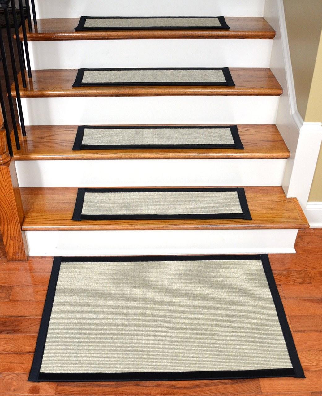 Sisal Stair Treads With Matching Landing Mat 29 X 9 | Carpet Landing Wooden Stairs | Patterned | Builder Grade | Light Wood | Red Oak Wood | Hardwood