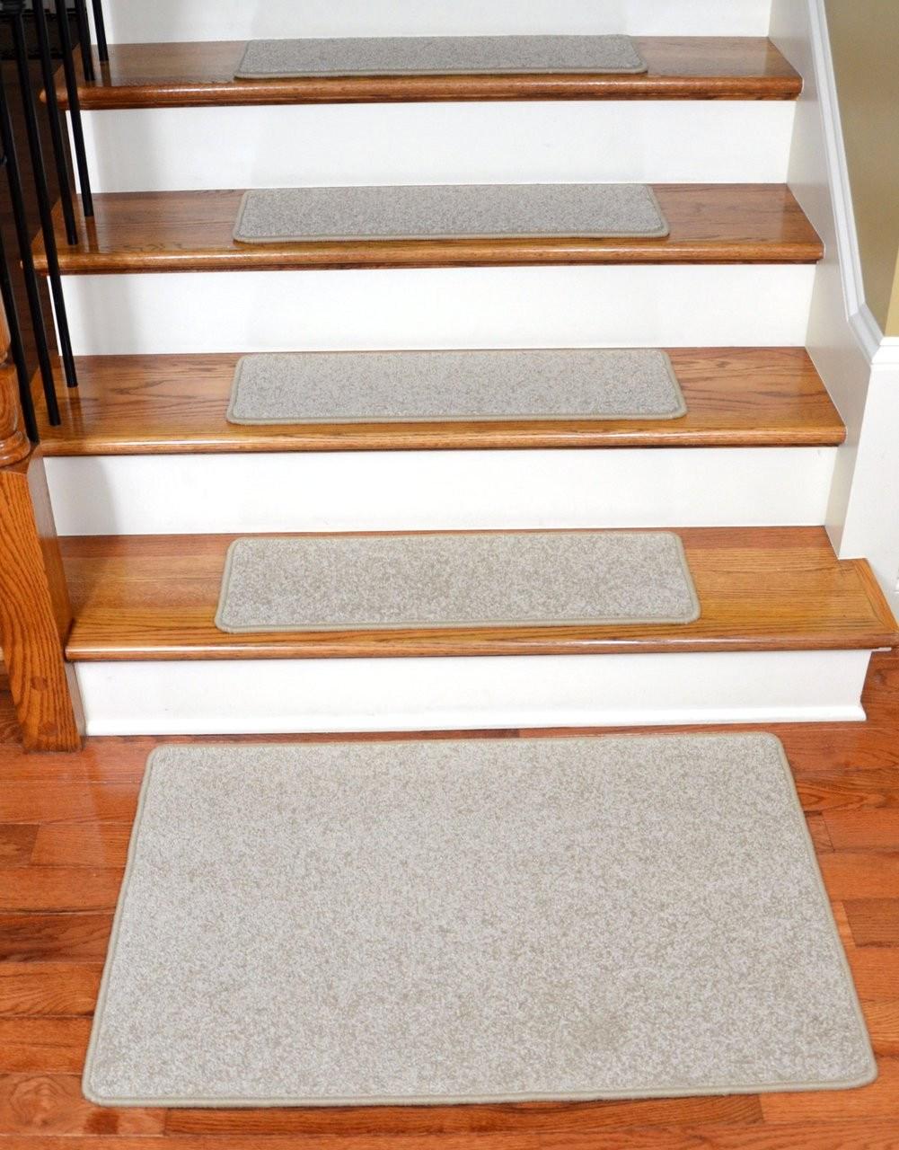 Plush Carpet Stair Treads Fresco Beige 27 X 9 | Dean Carpet Stair Treads | Pet Friendly | Gripper Tape | Friendly Diy | Rug | Modern Diy