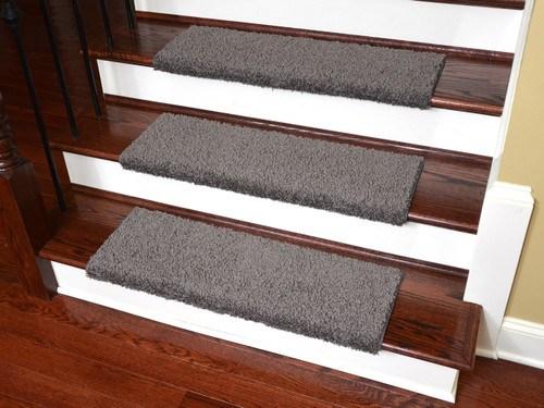 Dean Bullnose Carpet Stair Treads Set Of 3 Gray | Dean Bullnose Stair Treads