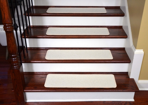 Dean Tape Free Pet Friendly Premium Wool Non Slip Stair Gripper | 8 Inch Carpet Stair Treads | Bullnose Carpet | Wood Stairs | Rubber Backing | Mat | Non Slip Stair