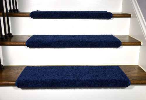 Navy Blue Bullnose Stair Treads | Navy Carpet On Stairs | Wooden | Loop Pile | Wall To Wall Carpet | Dark Blue | Geometric