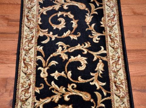 Dean Black Scrollworks Custom Length Carpet Rug Hallway Stair   Carpet Runners Sold By The Foot   Wooden Stair   Coastal Carpet   Laminate   Grey   Wedding