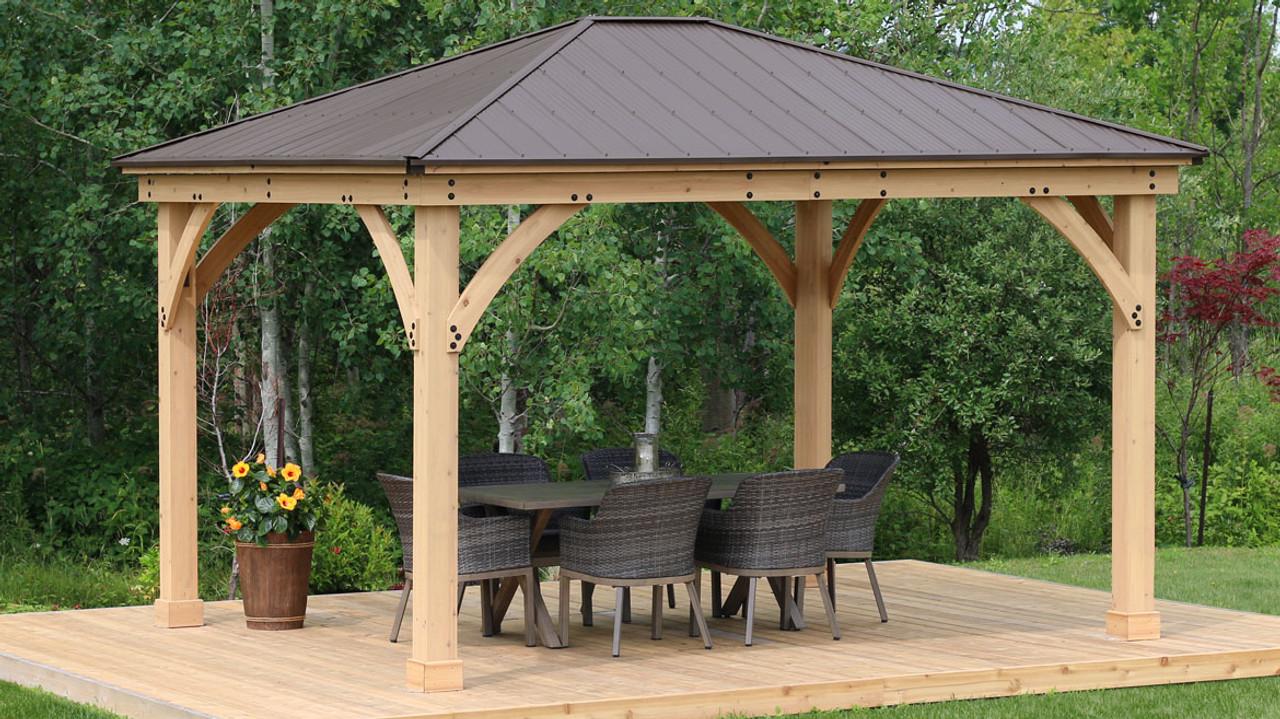 yardistry meridian gazebo with cedar wood aluminum roof 12 ft x 14 ft