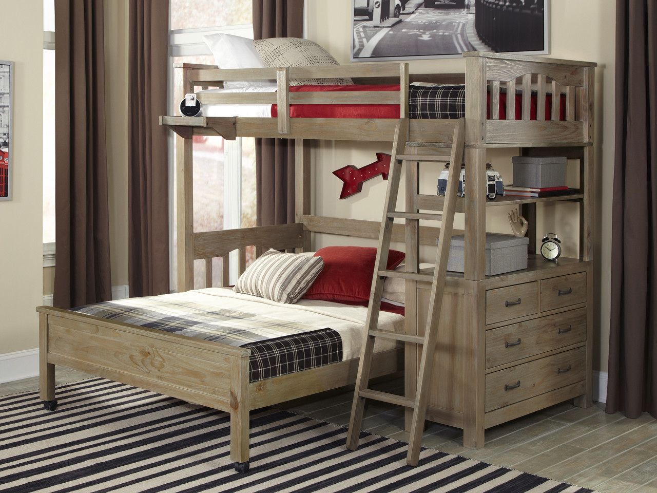seaview loft bed twin full driftwood