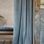 Pair Of Velvet Curtains In Dusty Light Blue Custom Curtains