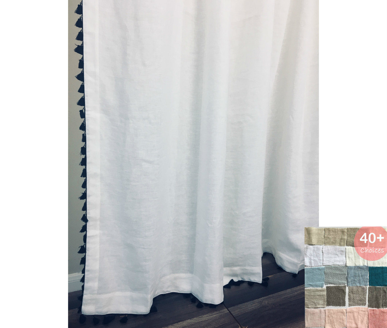 natural linen shower curtain with tassel pick color