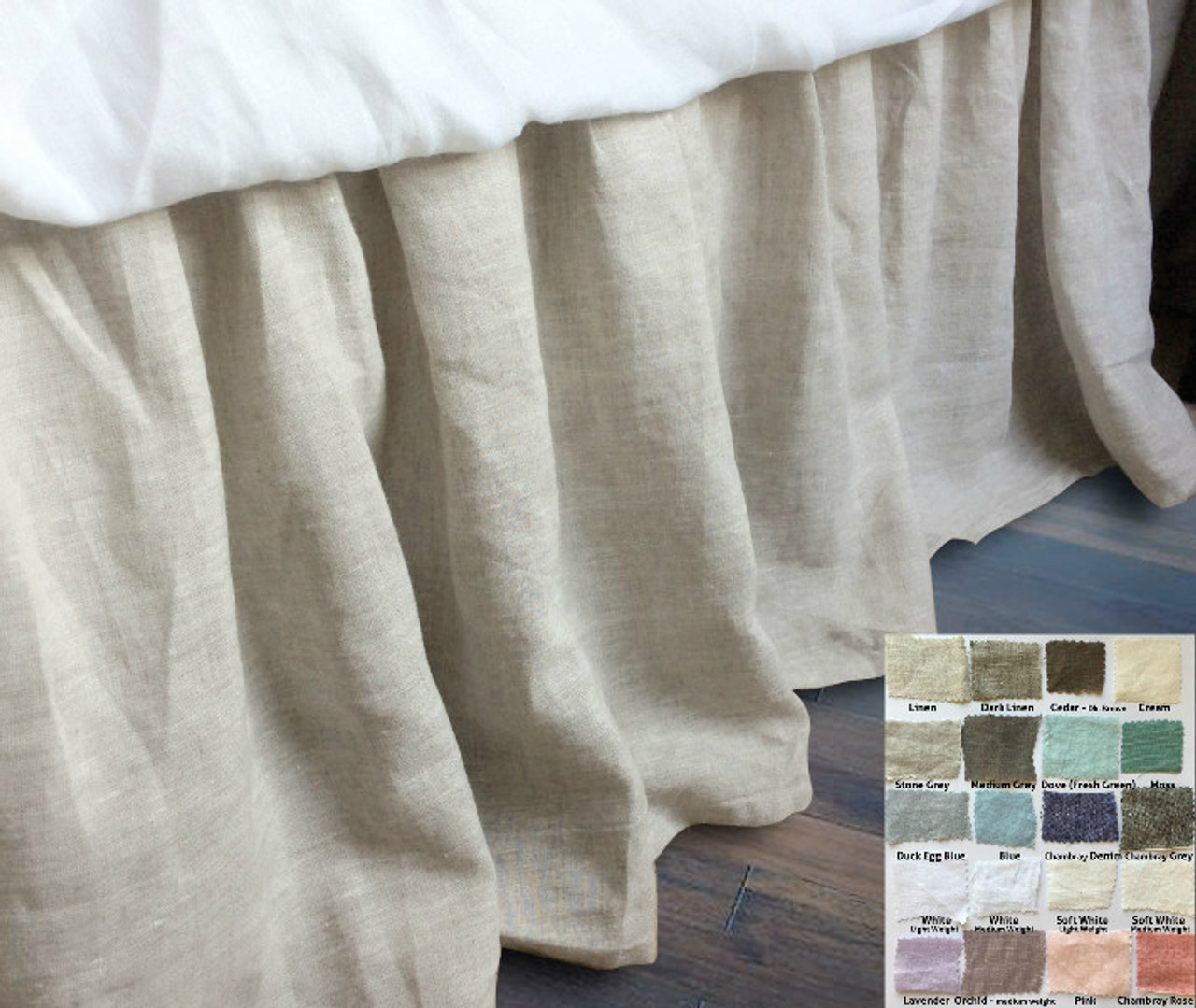 gathered linen bed skirt pick your color