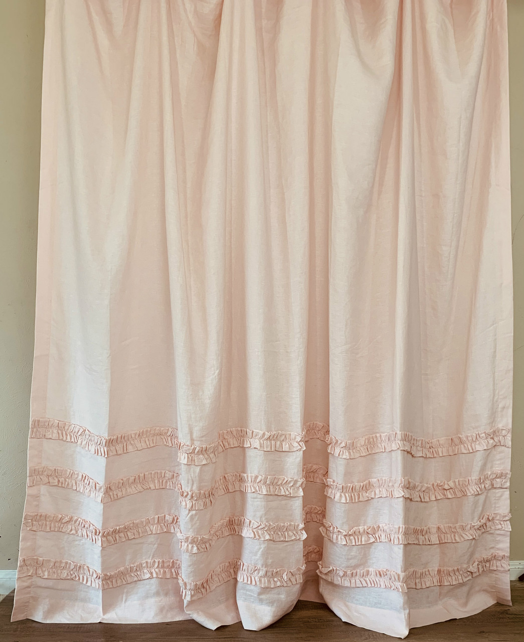 dogwood pink linen shower curtain with 4 rows of ruffles