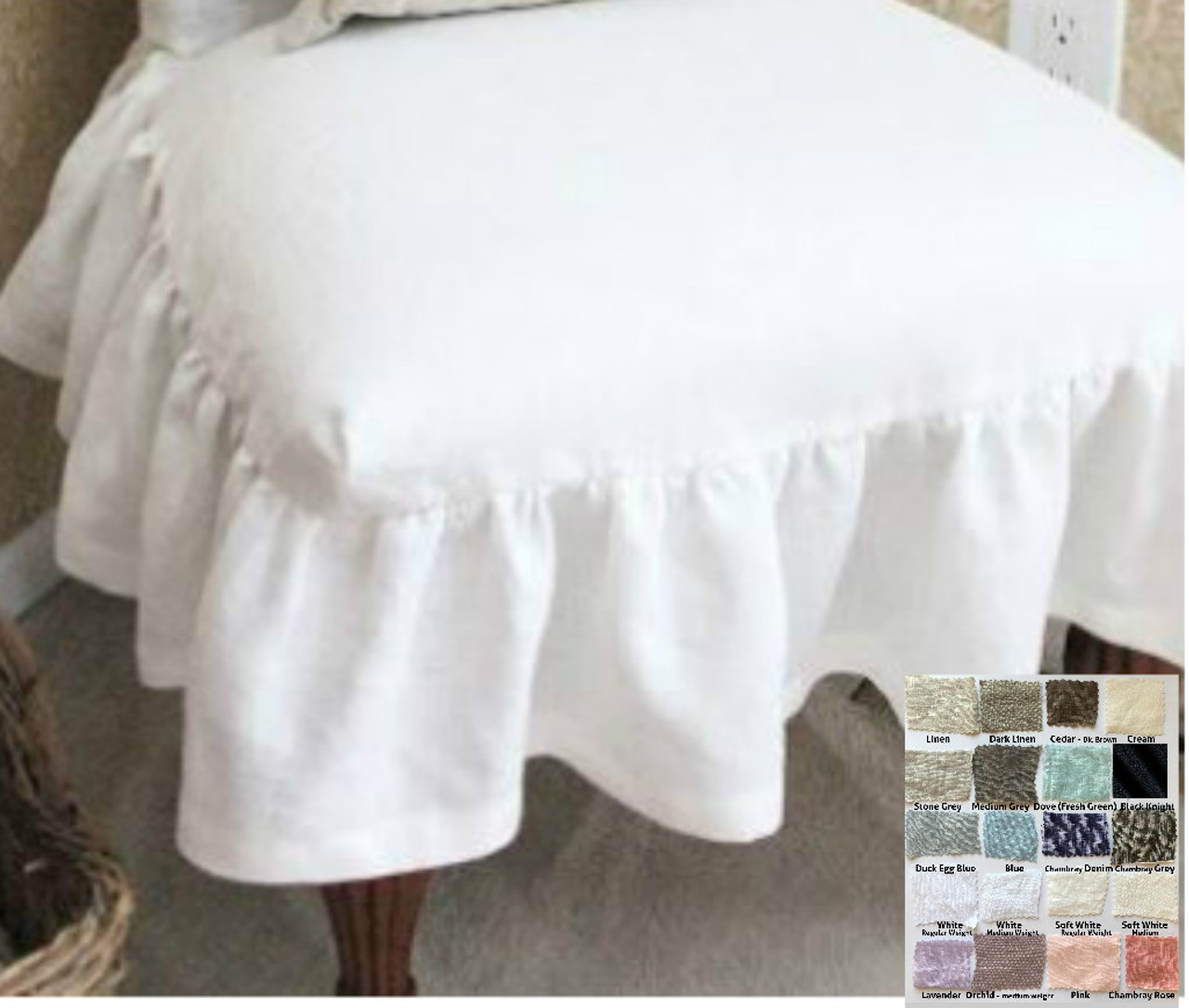 Slip Cover For Chair Linen Chair Seat Cover Gathered Ruffles With Ballerina Sash Ties
