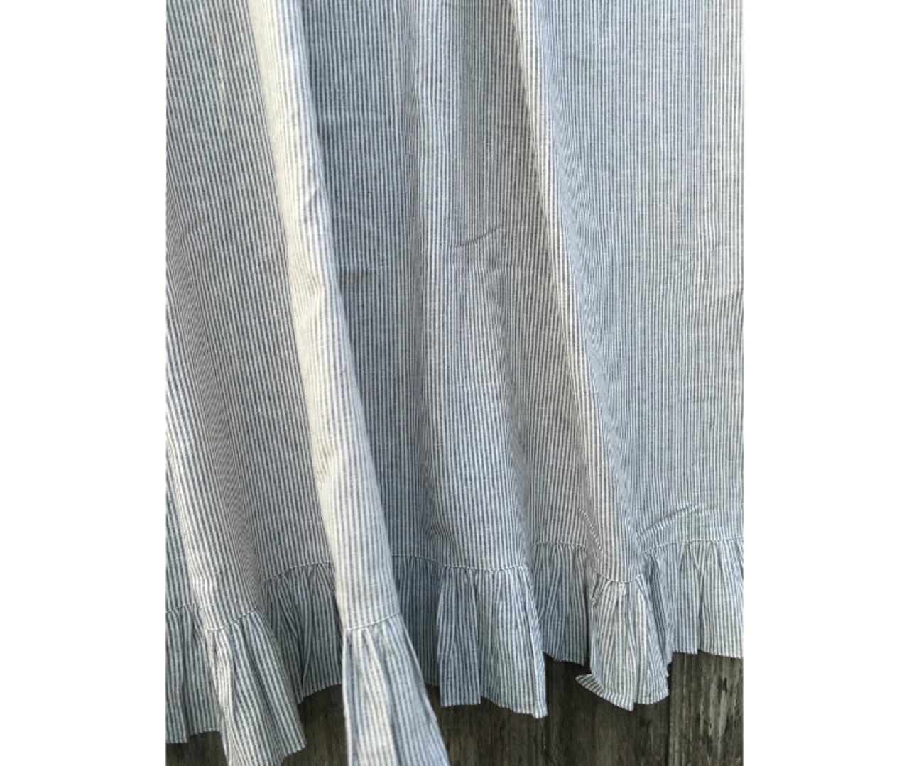 Subtle Black And White Ticking Stripe Ruffled Linen Shower Curtain