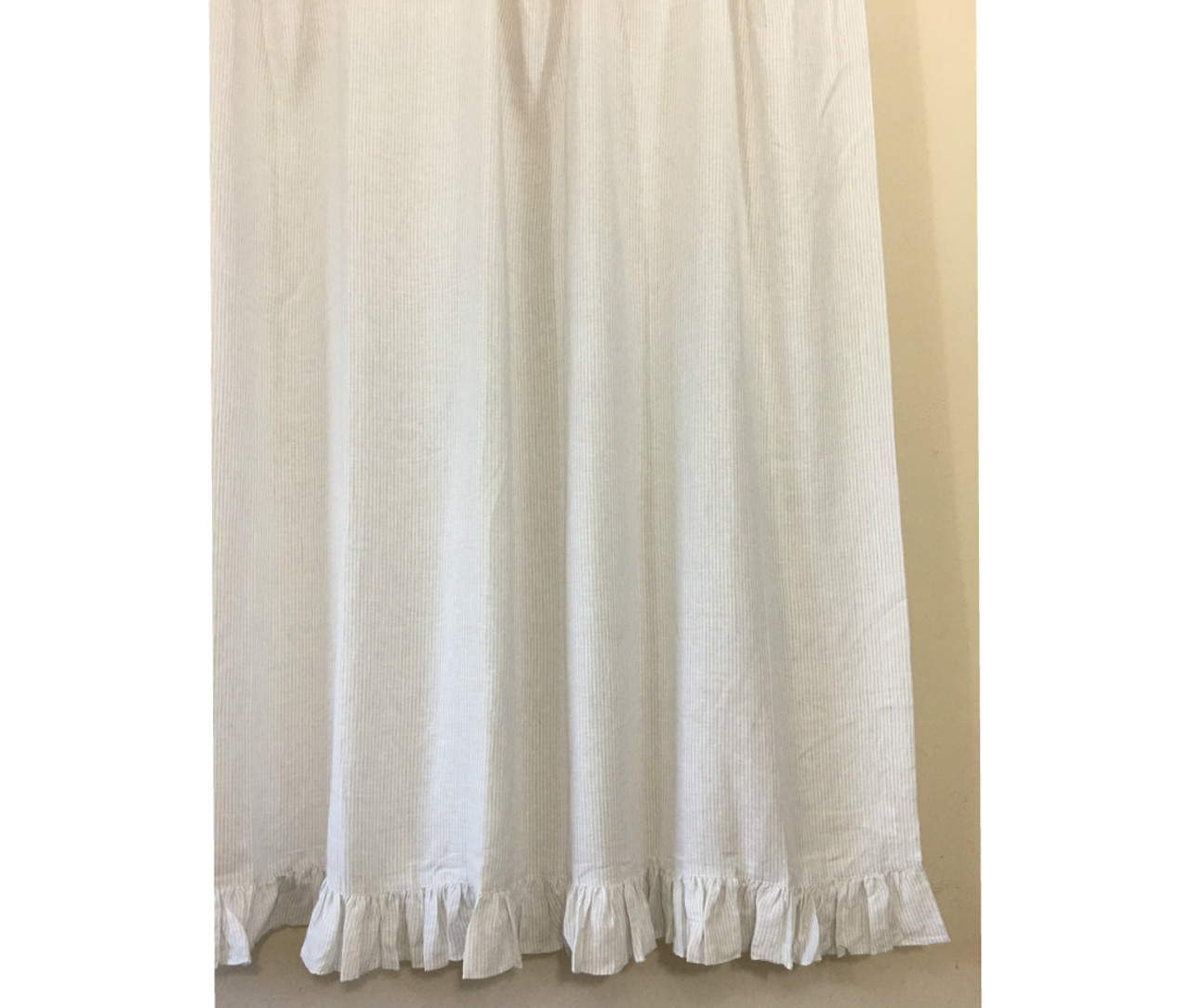 Stone Grey And White Ticking Striped Linen Shower Curtain With Self Ruffles