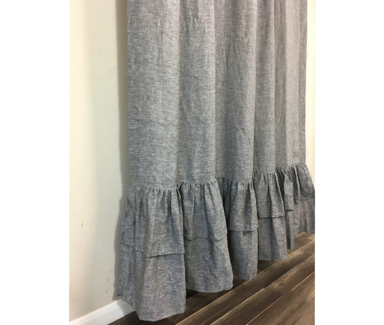 chambray grey linen shower curtain with 2 tiered layer mermaid long ruffles