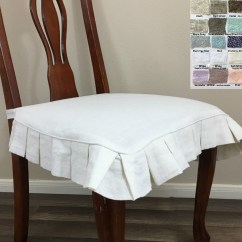 Chair Seat Covers Wicker Side Linen Cover With Pleated Ruffles Multiple Colors