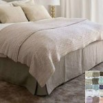 Boxed Linen Bed Skirt Minimalist Classy 15 24 Drop Natural Linen White Grey Cream Pink Blue Stripe Chevron 40 Colors Custom Size Queen King Calif King Twin