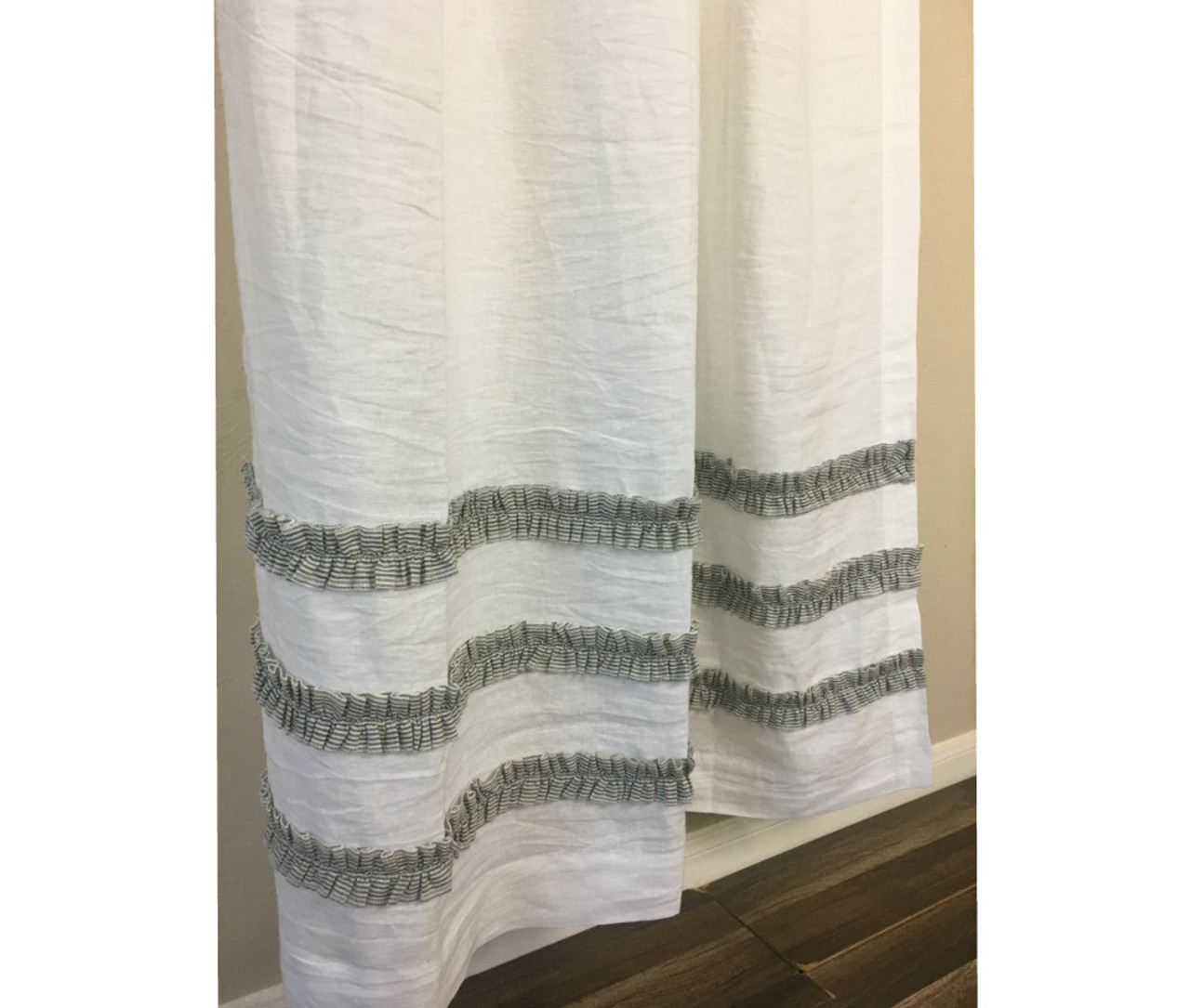 White Linen Shower Curtain With Black And White Ticking Striped Ruffles