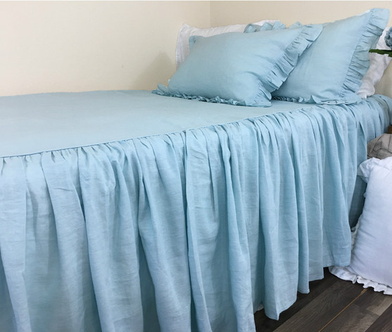dove linen bedspread with