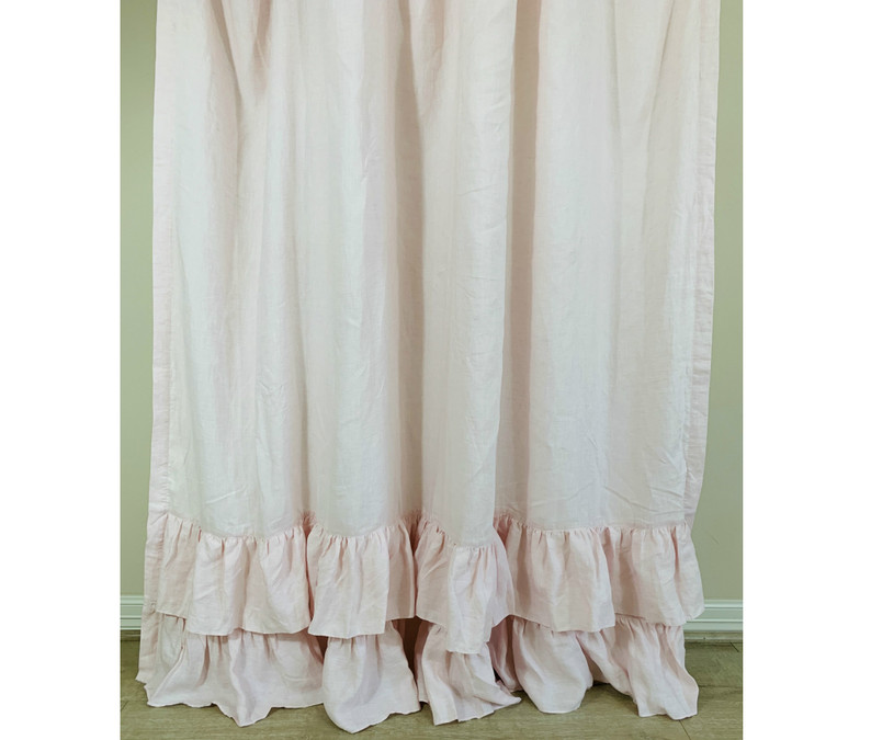 blush pink linen shower curtain with two tiered of mermaid long ruffles