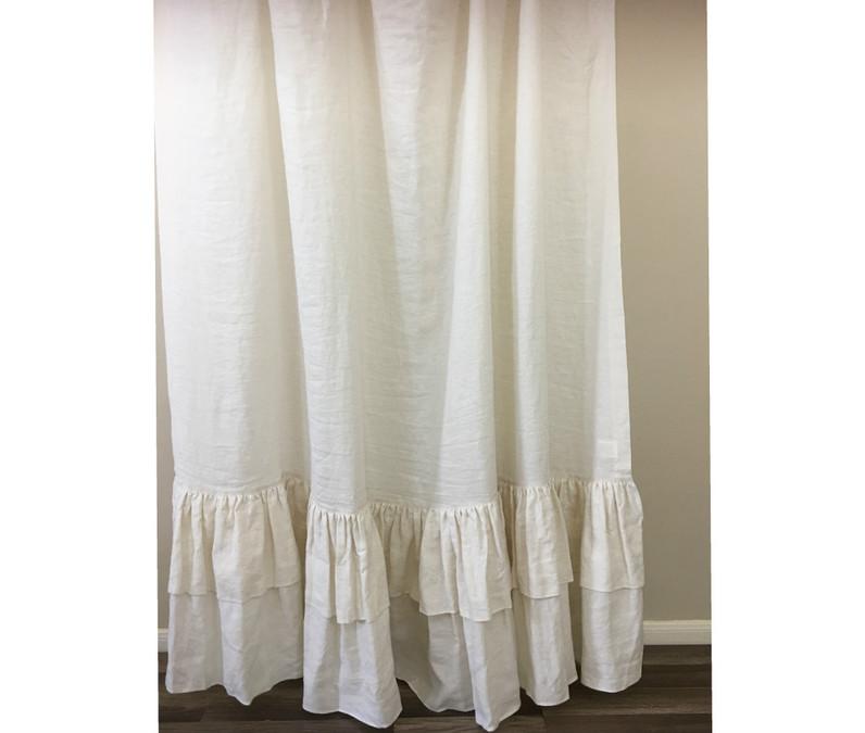 cream linen shower curtain with 2 tiered mermaid long ruffles