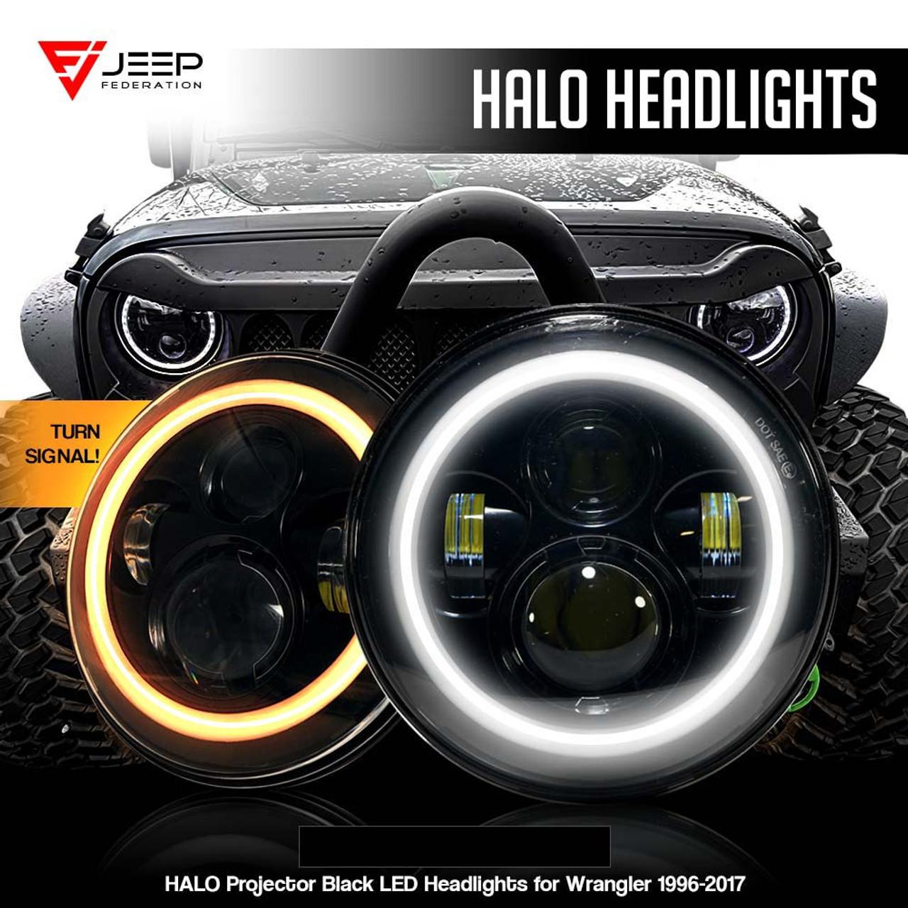 medium resolution of halo projector black led headlights for wrangler 1996 2017