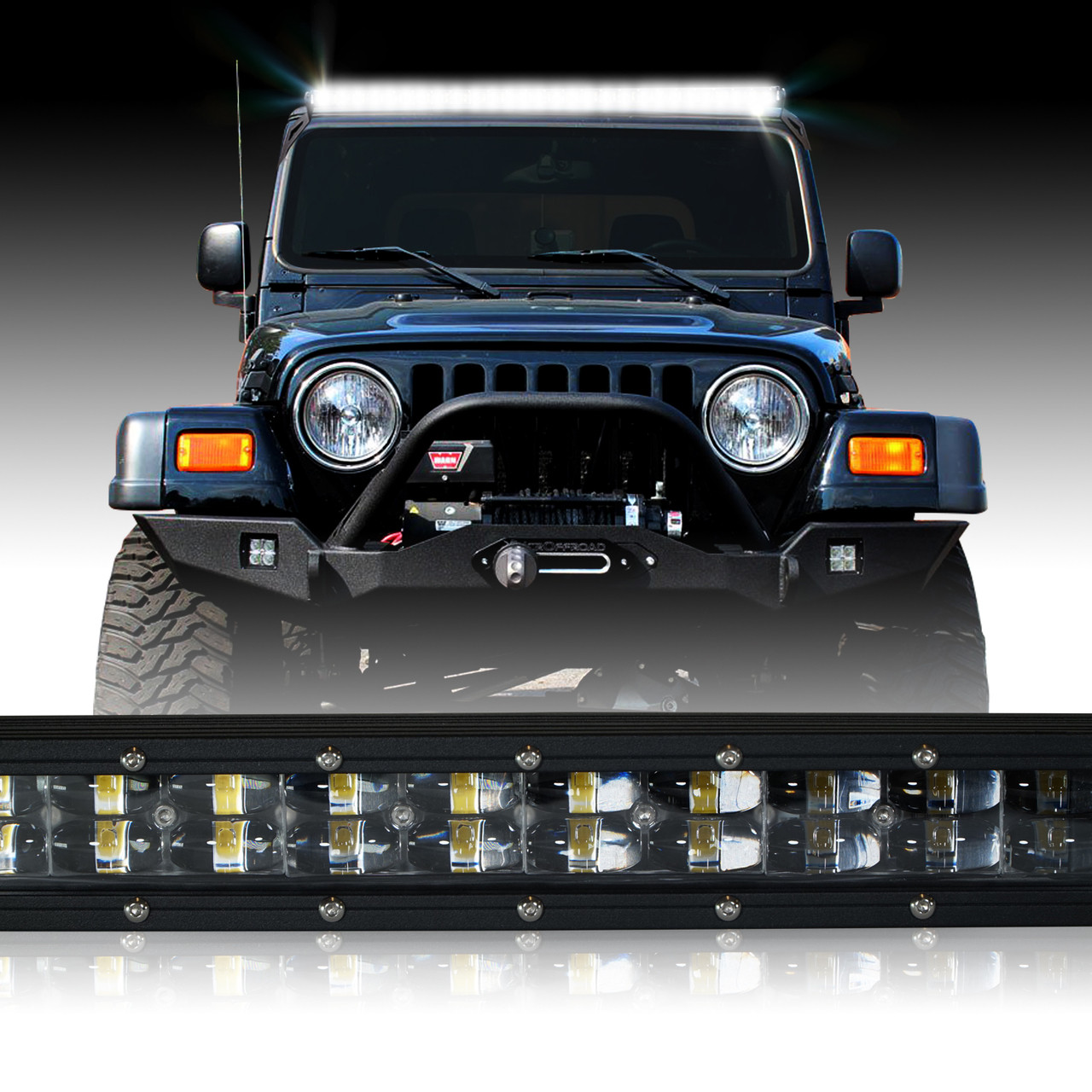 hight resolution of led light bar 288w 50 inches bracket wiring harness kit for wrangler tj 1997 2006