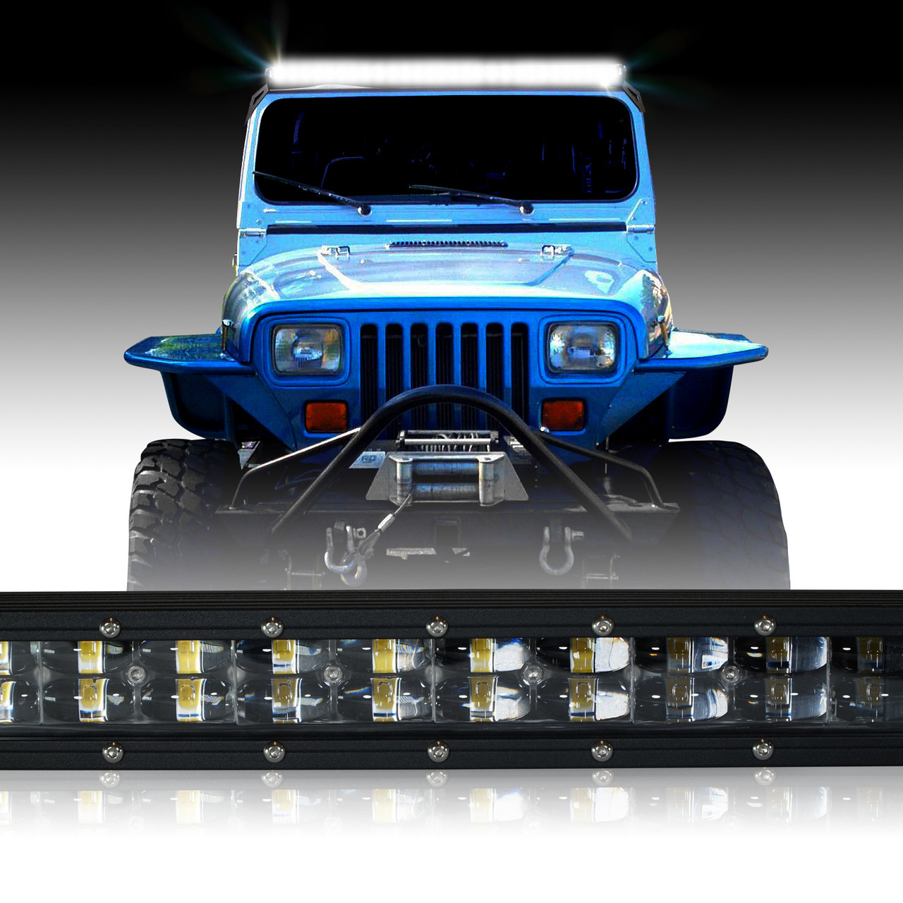 hight resolution of led light bar 288w 50 inches bracket wiring harness kit for wrangler yj 1987 1995