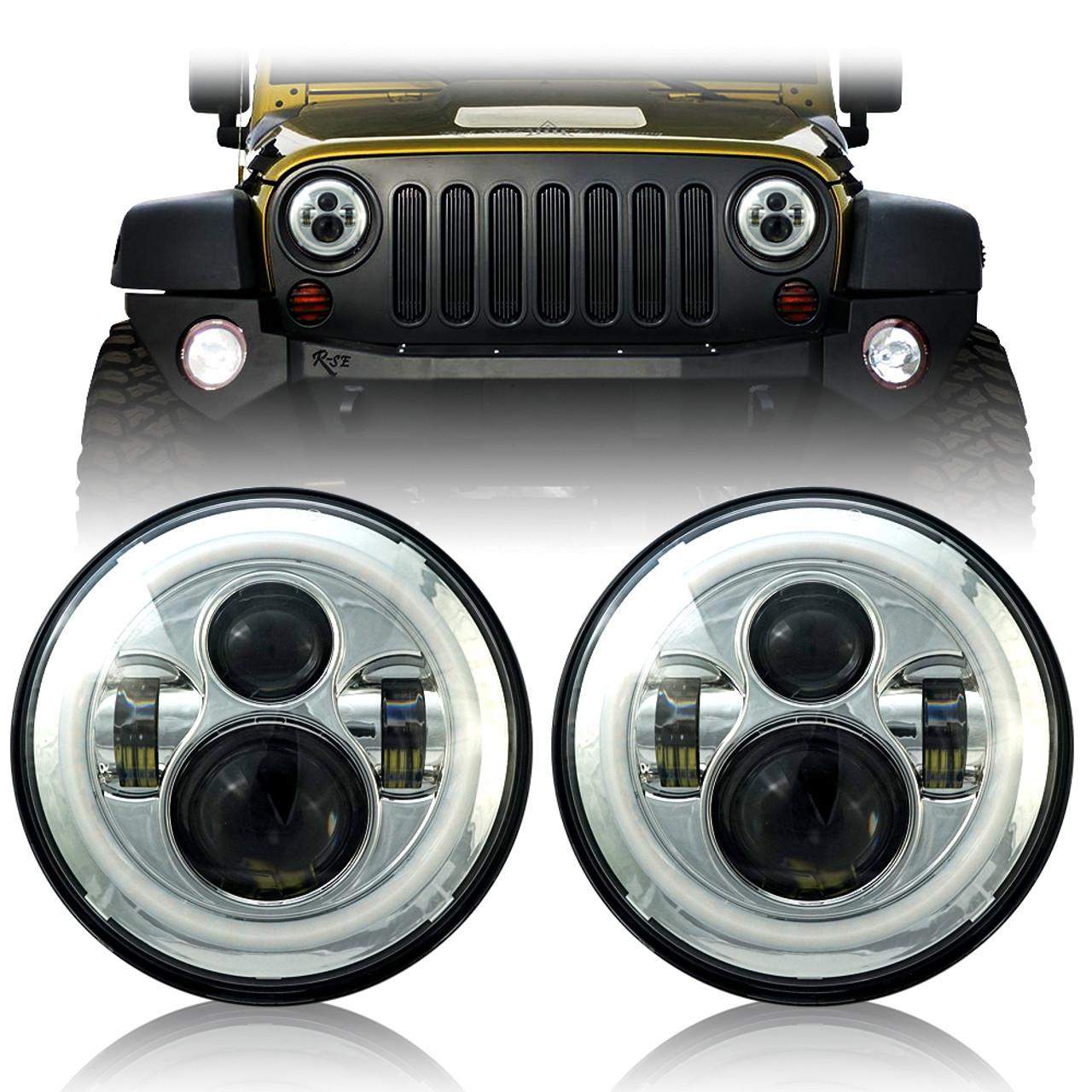hight resolution of chrome housing halo headlights for wrangler