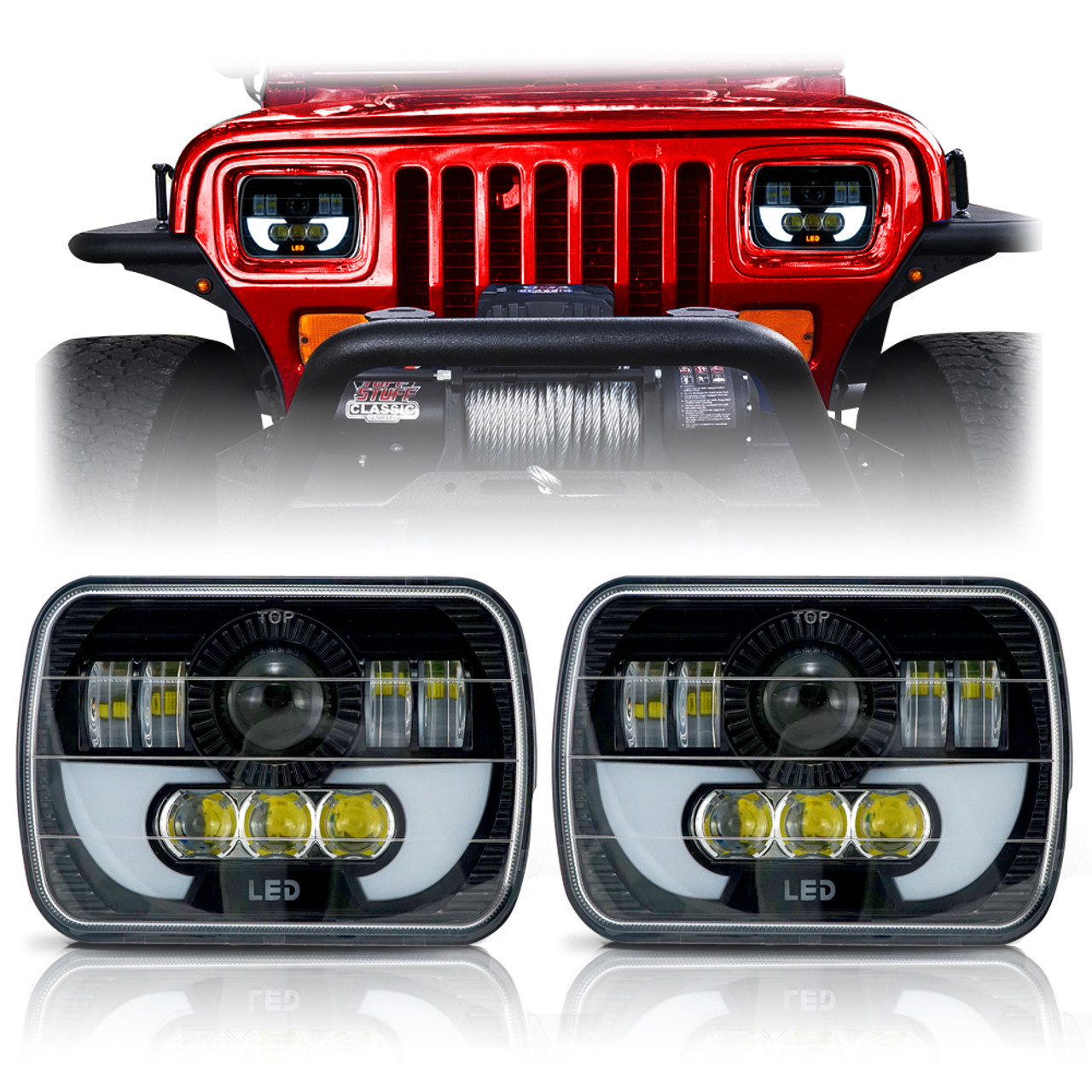 demon led black projector headlights w drl for xj and yj [ 1001 x 1001 Pixel ]
