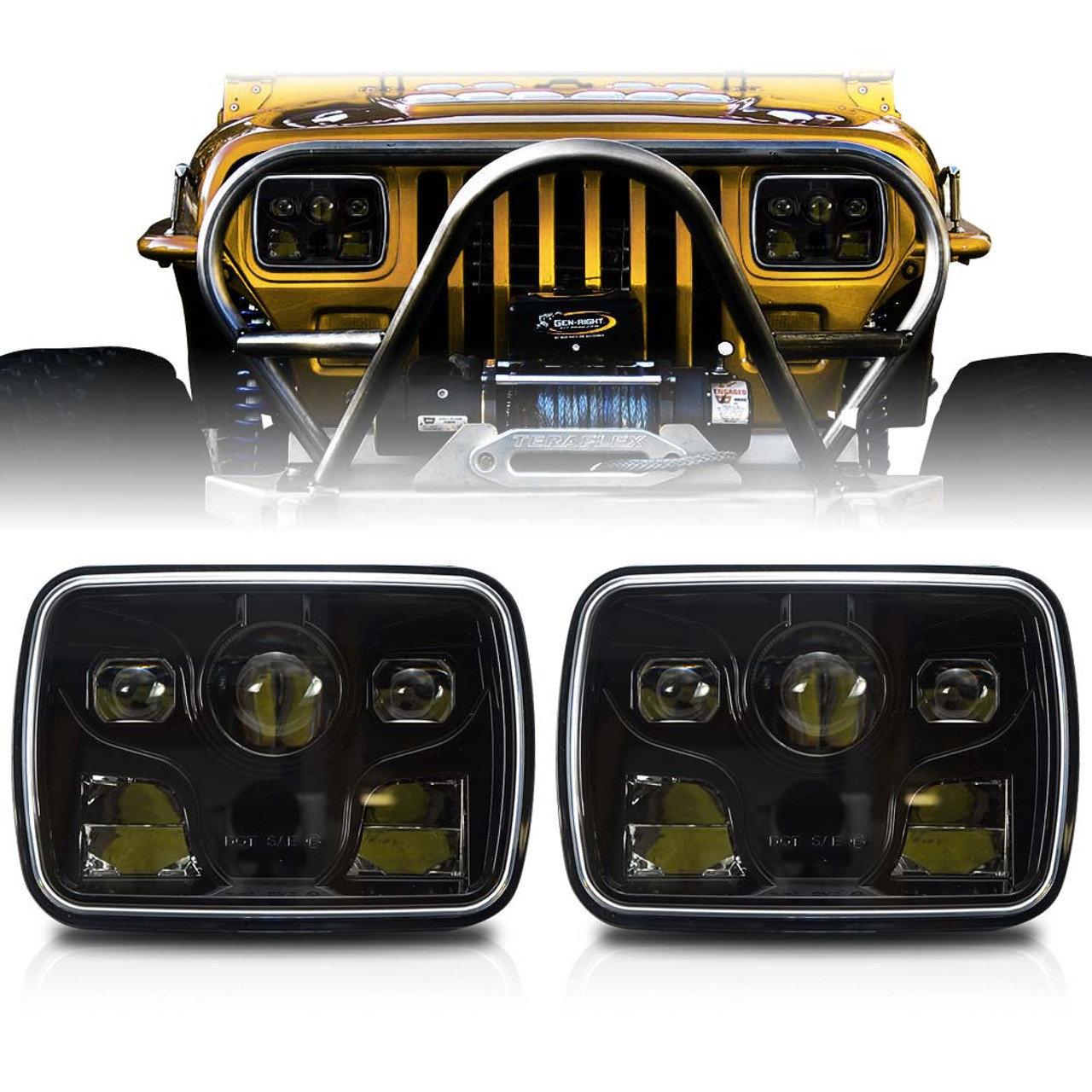 apollo led black projector headlights for xj and yj [ 1001 x 1001 Pixel ]