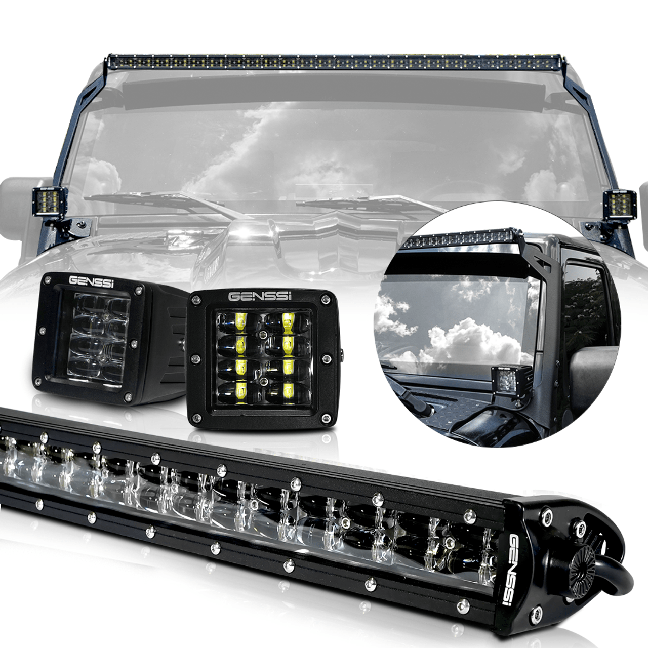 led light bar combo kit with aux lights bracket wiring harness kit for wrangler jk [ 1080 x 1080 Pixel ]