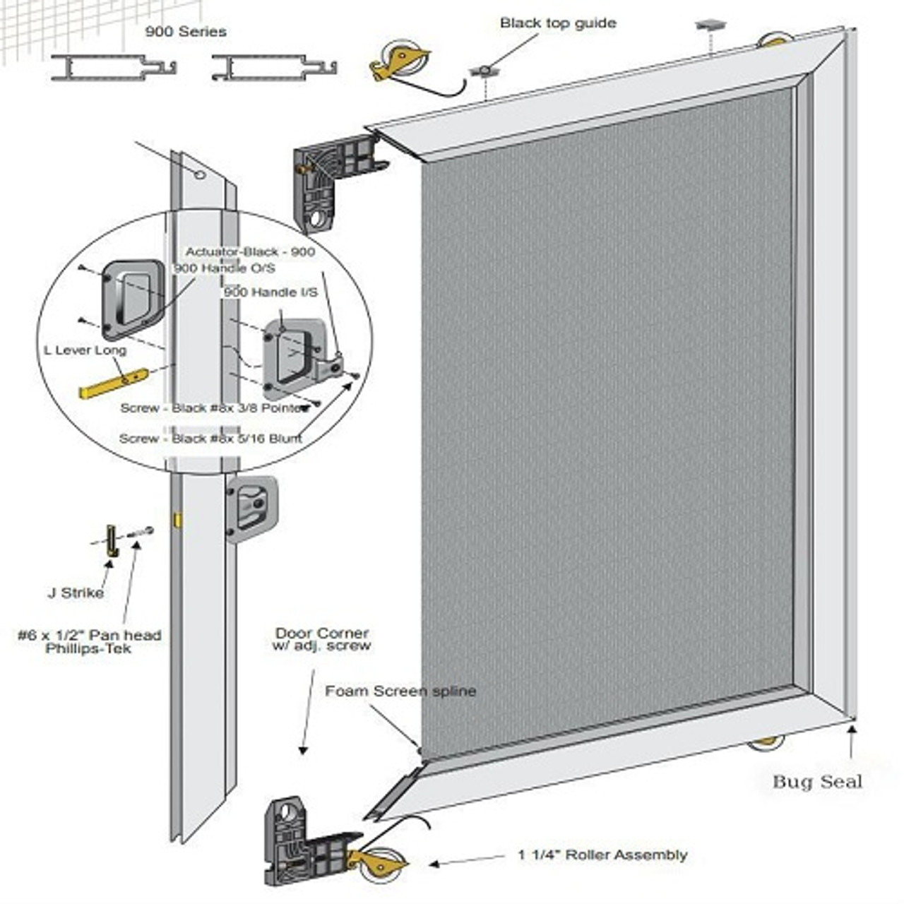 classic sliding screen door unassembled