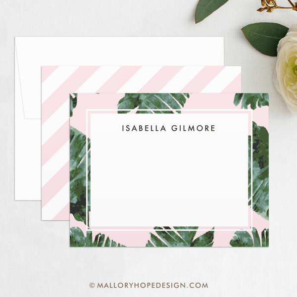 palm leaves stationery notecard