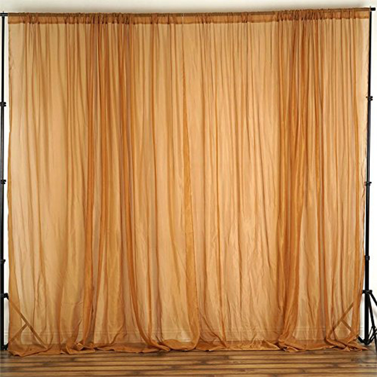 gold 120 wide 10ft wide sheer voile drape panels select from 6ft to 50ft length